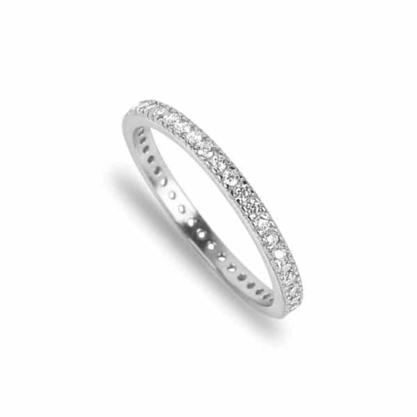 Bague Marylin en argent 925/1000, anneau sertie de cubics zirconiums Orligne Genève R1505WW-KHA