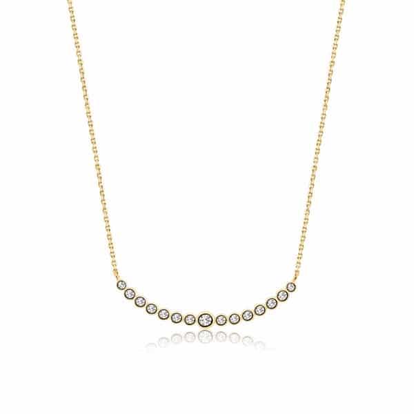 Collier Marylin, tour de cou en argent doré 925 serti de cubics zirconiums. Longueur 45,5 cm + 4 cm de rallonge. Orligne Genève N1073YWKHA-1