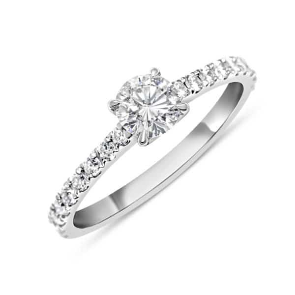Bague diamant blanc solitaire MONTé SUR GRIFFES H/SI 0.5 ct NON TRAITE 0.185 ct, or blanc. Swiss Made Orligne Genève BA010916