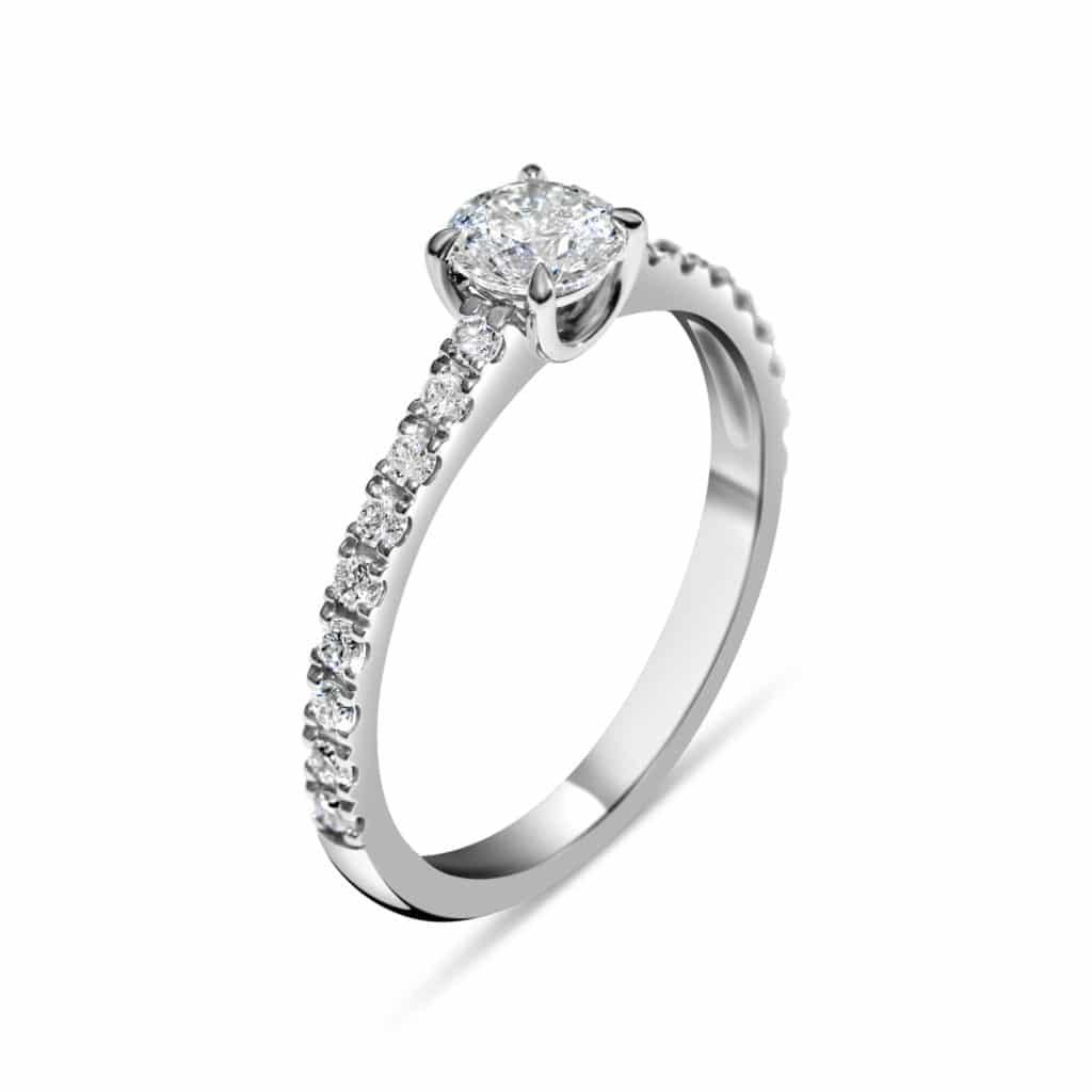 Bague diamant solitaire NON TRAITE 0.185 ct, or blanc. Swiss Made Orligne Genève BA010916