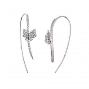 boucles-d-oreilles-en-argent-925-rhodie motif papillon Orligne Genève 195A0060PAS