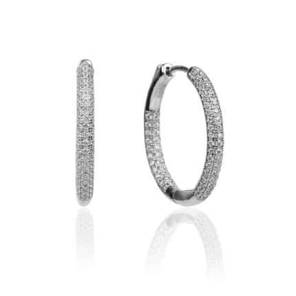 Boucles d'oreilles créoles Marylin, en argent rhodié 925/1000 serties de cubics zirconiums. Orligne Genève E1435WW KHA