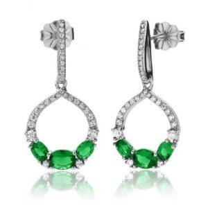 Boucles d'oreilles en argent 925/1000 rhodié, serties de cubics zirconiums verts. Orligne Genève E1269WEW