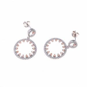 Boucles d'oreilles Joséphine en argent rhodié 925/1000, serties de cubics zirconiums blanc et jaunes. Orligne Genpve BO192A0026PAS