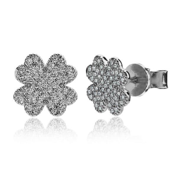 Boucles d'oreilles Marylin en argent 925/1000, serties de cubics zirconiums. Trèfle. Environ 11 mm. Orligne Genève E1219WW
