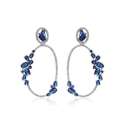 Boucles d'oreilles Marylin, en argent rhodié 925/1000 serti de cubics zirconiums bleus et blancs Orligne Genève E1256WWKHA