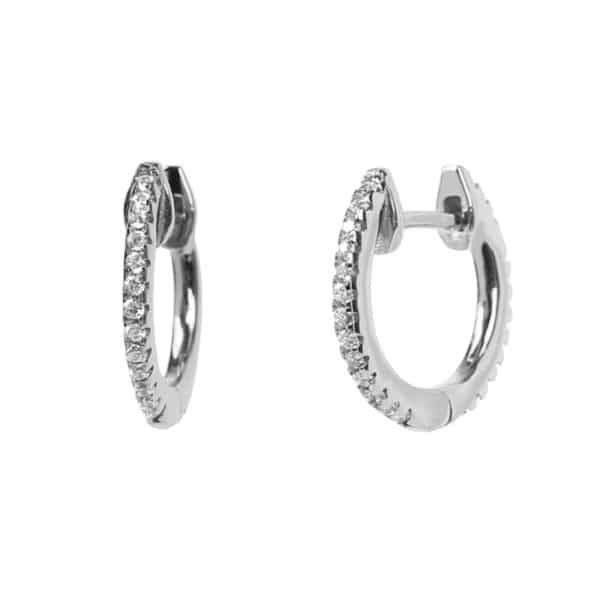 Boucles d'oreilles Marylin, en argent rhodié 925/1000 serti de cubics zirconiums. Pour oreilles percées. Mini créole. Orligne Genève E1052WWRWKHA