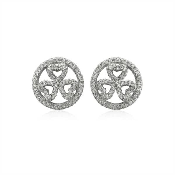 Boucles d'oreilles, Marylin, en argent rhodié 925/1000, serties de cubics zirconiums. Orligne Genève E1033WWKHA