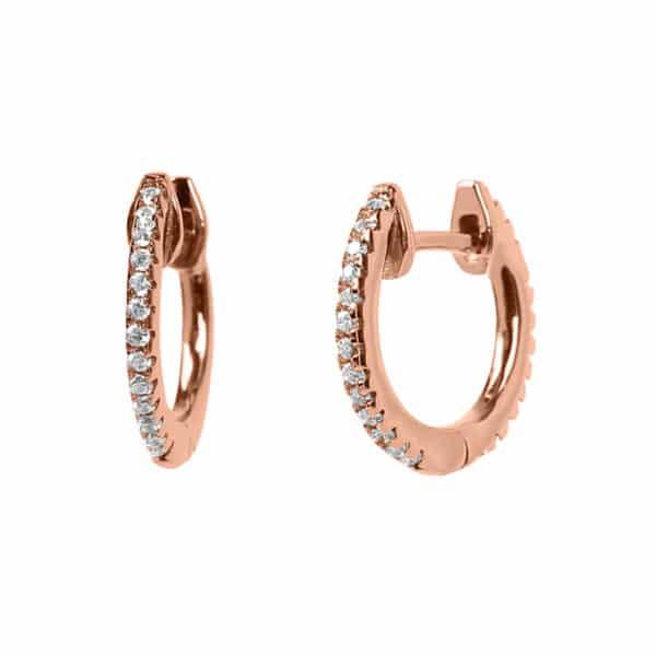 Boucles d'oreilles Marylin, en argent rosé 925/1000 serti de cubics zirconiums. Créole. Orligne Genève E1052RWKHA