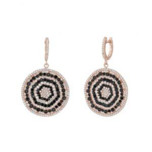 Boucles d'oreilles Marylin, en argent rosé 925/1000, serties de cubics zirconiums, noirs et blancs. Pour oreilles percées. Disque d'environ 28 mm. Orligne Genève E1422RBW