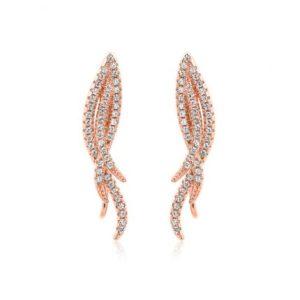 Boucles d'oreilles Marylin en argent rosé 925/1000, serties de cubics zirconiums. Pinces pour oreilles non-percées. Orligne Genève E1153RW