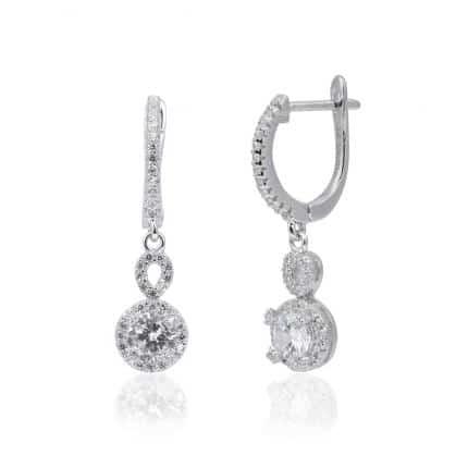 Boucles pendants d'oreilles Marylin, en argent rhodié 925/1000 serti de cubics zirconiums. Orligne Genève E1470WW
