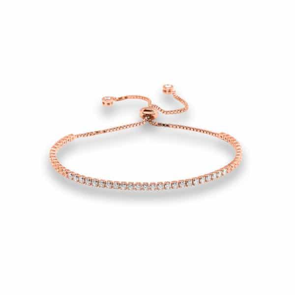 Bracelet Marylin en argent rhodié rose 925/1000, serti de cubics zirconiums. Rivière. Orligne Genève B1109RW