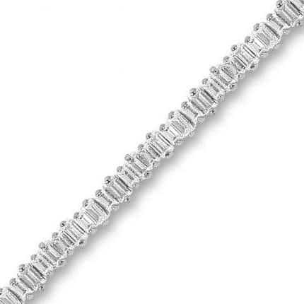 Bracelet rivière Marylin en argent rhodié 925/1000, serti de baguettes cubics zirconiums d'environ 3 mm. Orligne Genève B1394WW