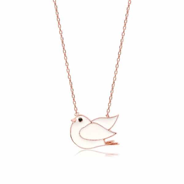 Collier en argent 925 rhodié rose et emails motif oiseau blanc Orligne Genève N1864RW