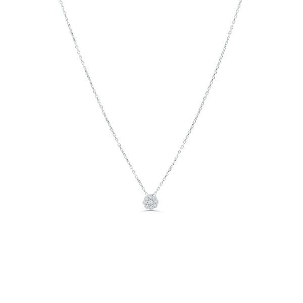 Collier en argent 925 serti de cubics zirconium. Pendentif fleur Orligne Genève N1596WW
