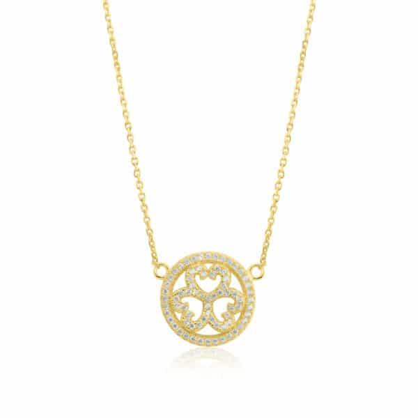 Collier Marylin en argent doré 925 serti de cubics zirconiums. Orligne Genève N1001YW