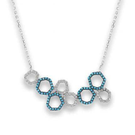 Collier Marylin, tour de cou en argent 925/1000 serti de cubics zirconiums blancs et turquoises. Longueur 44,5 cm + 3 cm de rallonge. Orligne Genève N1748WWTKHA