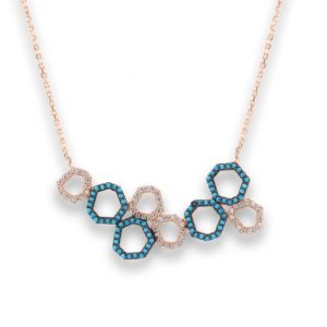 Collier Marylin, tour de cou en argent rosé 925/1000 serti de cubics zirconiums blancs et turquoises. Longueur 44,5 cm + 3 cm de rallonge. Orligne Genève N1748RWTKHA