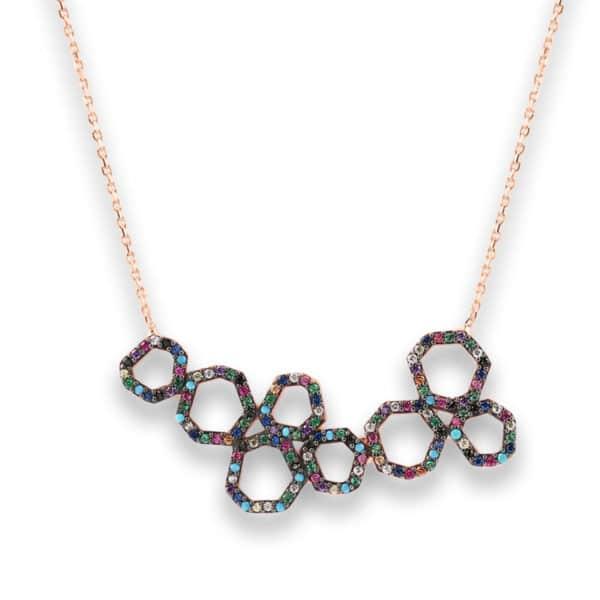 Collier Marylin, tour de cou en argent rosé 925/1000 serti de cubics zirconiums multicolores. Longueur 44,5 cm + 3 cm de rallonge. Orligne Genève N1748MIX