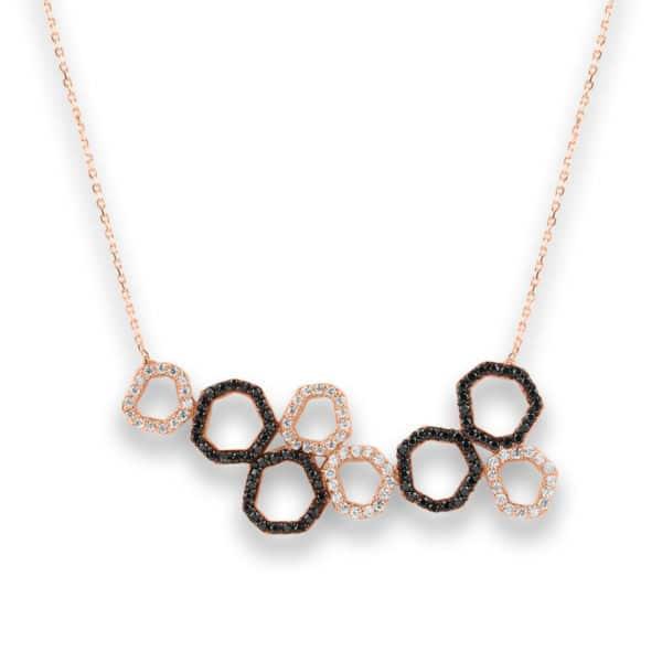 Collier Marylin, tour de cou en argent rosé 925/1000 serti de cubics zirconiums noirs et blancs. Longueur 44,5 cm + 3 cm de rallonge. Orligne Genève N1748RWBKHA