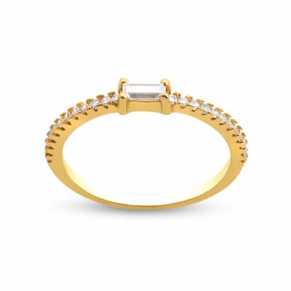 Bague Marylin, en argent doré 925/1000 baguette cubic zirconium Orlinge Genève R1032YWKHA
