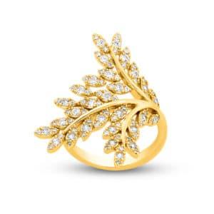 Bague Marylin en argent doré 925/1000, rameau d'olivier, cubics zirconiums Orligne Genève R1598RWKHA-2-1