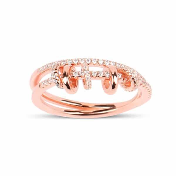 Bague Marylin, en argent rhodié rose 925/1000 serti de cubics zirconiums Orligne Genève R1598RW