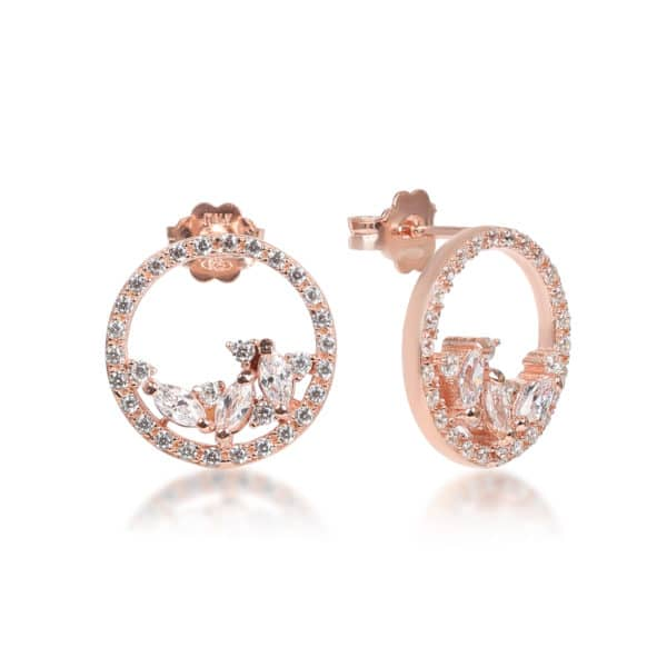 Boucles d'oreilles Marylin, en argent rosé 925/1000 serti de navettes cubics zirconiums. Orligne Genève E1537RW KHA-1