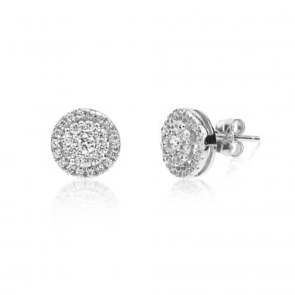 Boucles d'oreilles Marylin en argent 925/1000 rhodié, serties de cubics zirconiums. Orligne Genève EAR12WW KHA-1-1