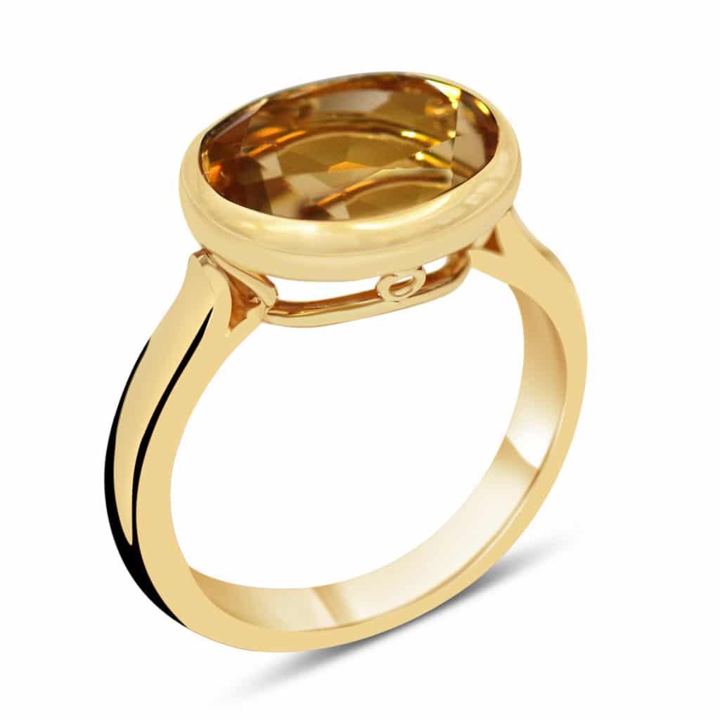 Bague en argent doré sertie d'une pièce semi précieuse Orligne Genève