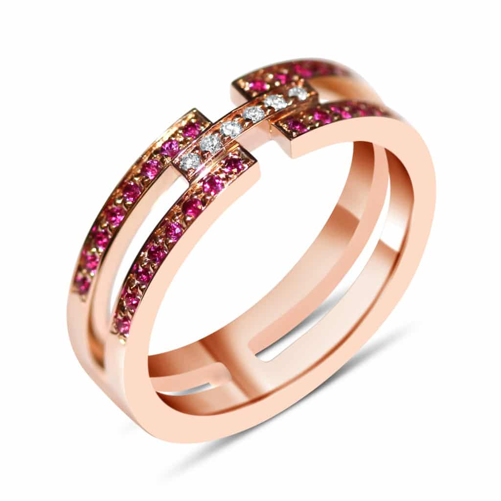 Bague en or rose 18k ruvis et diamants Orligne Genève