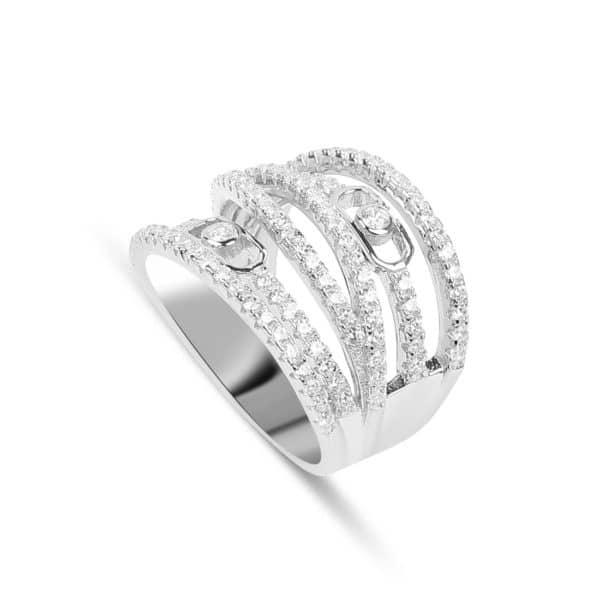 Bague Marylin en argent 925/1000 rhodié, multiples anneaux sertis de cubics zirconiums Orligne Genève R1643WWKHA
