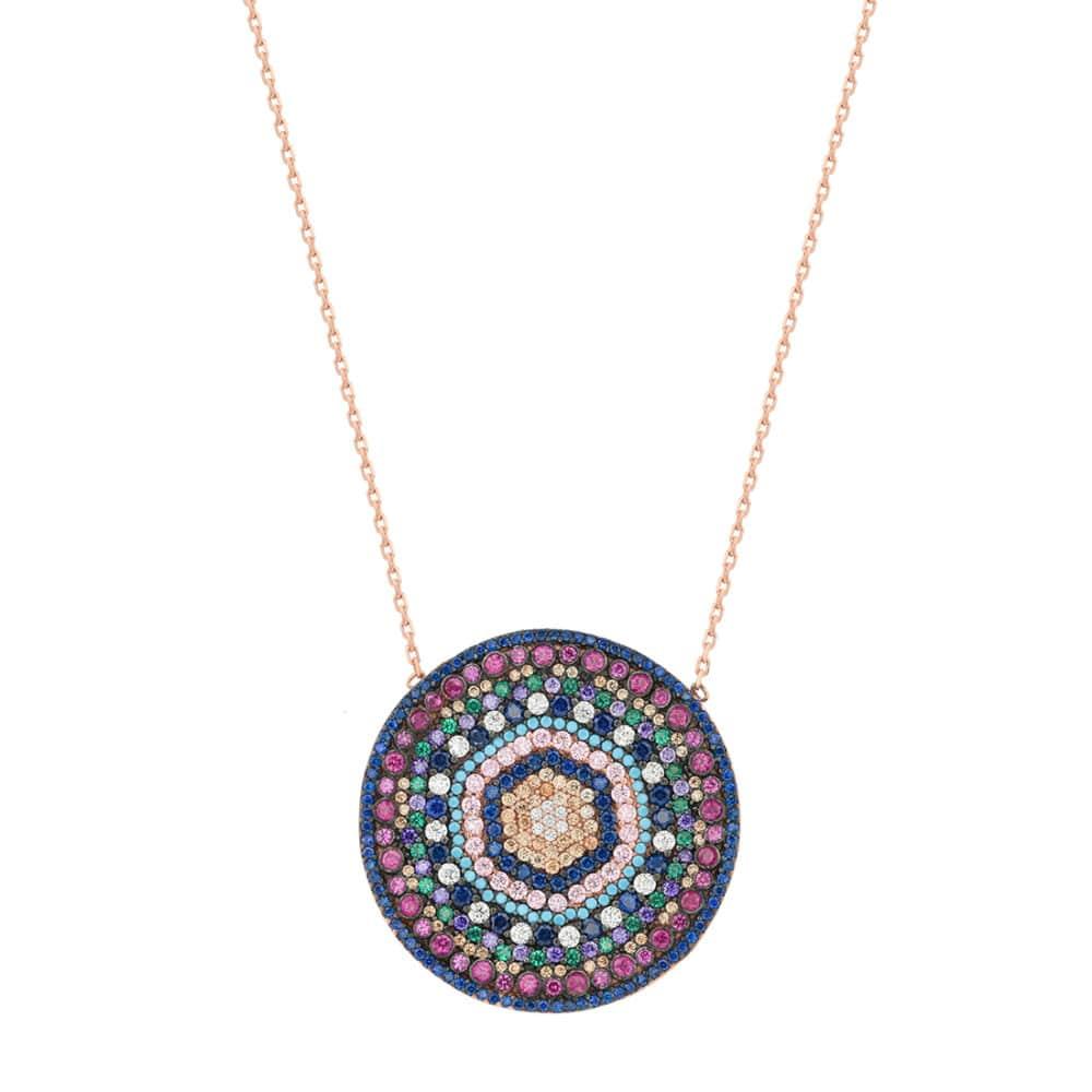 Collier en argent rhodié 925, avec médaillon central mandala, motif ethnique, serti de cubics zirconiums multicolores. Diamètre 35 mm. Fermoir anneau à ressort. Longueur 47 cm + 2 cm de rallonge. Orligne Genève N1827MIX