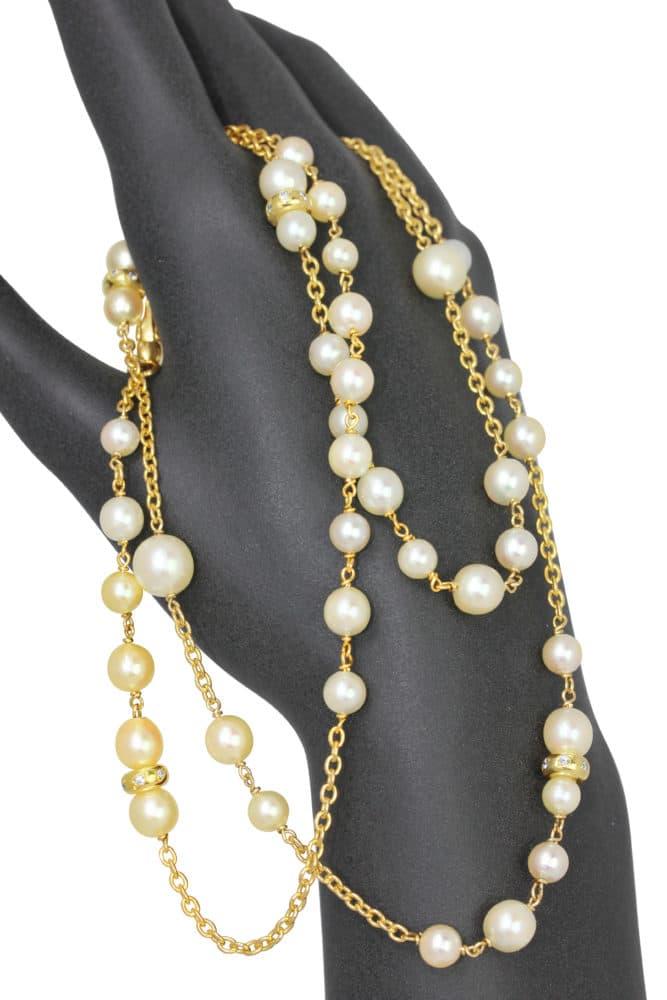 Collier sautoir en argent doré, perles et cubics zirconiums Orligne Genève