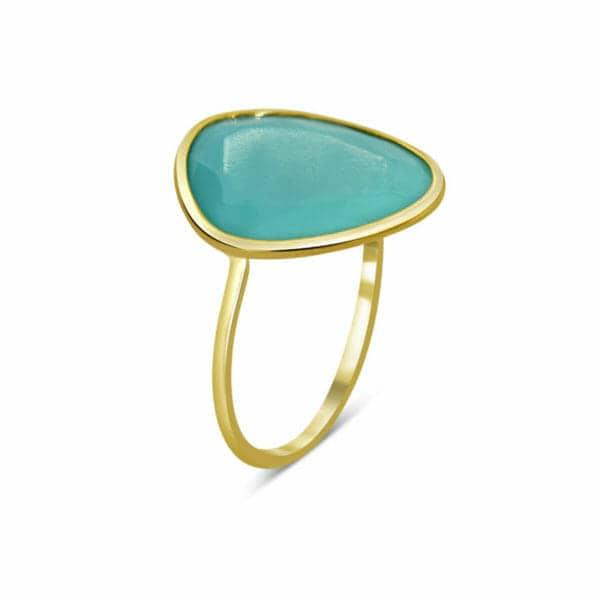 Bague Iris en or jaune 375/1000, 9K, avec turquoise Orligne Genève RH1451YGTQ-IND