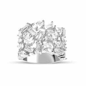Bague Marylin en argent rhodié 925/1000, sertie de cubics zirconiums poire baguette Orligne Genève R1655WW-KHA