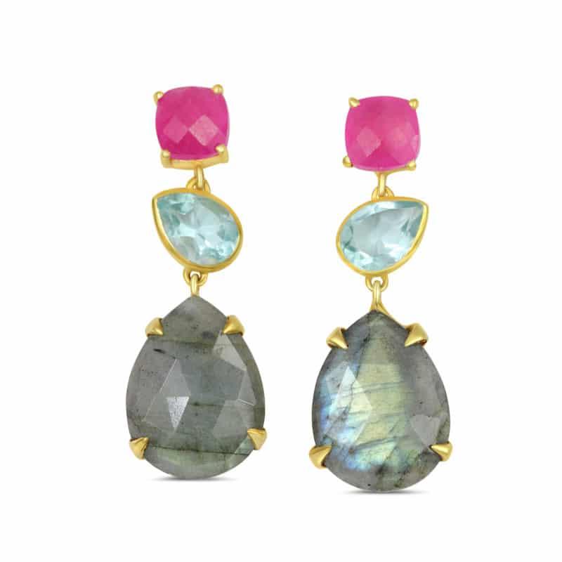 Boucles d'oreilles Joséphine en argent 925/1000 doré, labradorite, pierres de synthèse avec articulations. Orligne Genève 163AO239-PAS