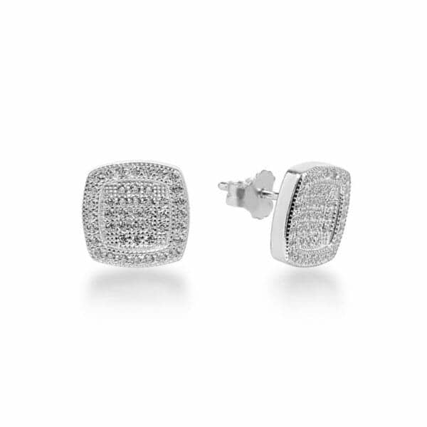Boucles d'oreilles Marylin en argent 925/1000 rhodié, serti de cubics zirconiums. Orligne Genève E1574WW