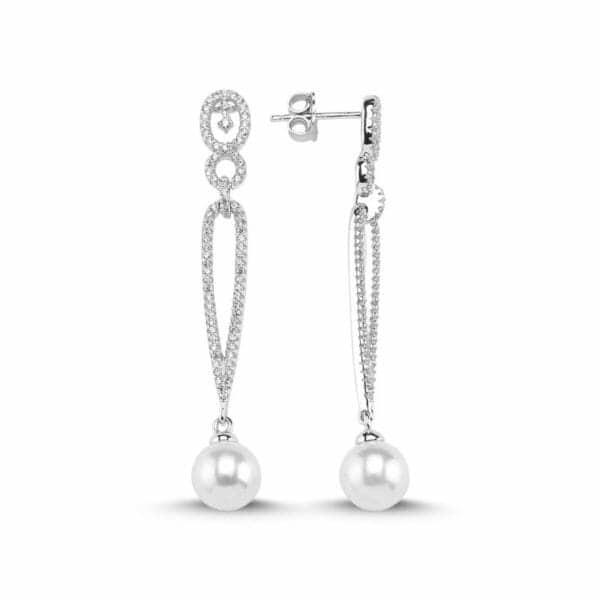 Boucles pendants d'oreilles en argent 925/1000 rhodié, serties de cubics zirconiums et perles de synthèse. Orligne Genève E1588WW KHA