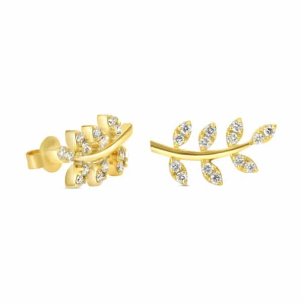 Boucles d'oreilles en argent 925 doré serties de cubics zirconiums motif laurier orligne genève ER-HOP-LEA-Y AQU